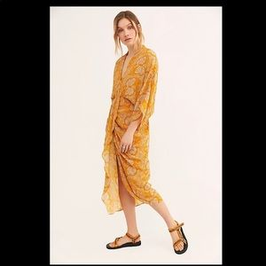 Free people retrograde kimono dress gold